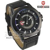KADEMAN卡德蔓 格紋酷帥粗曠型男手錶 真皮男錶 日期視窗 防水手錶 K6166黑
