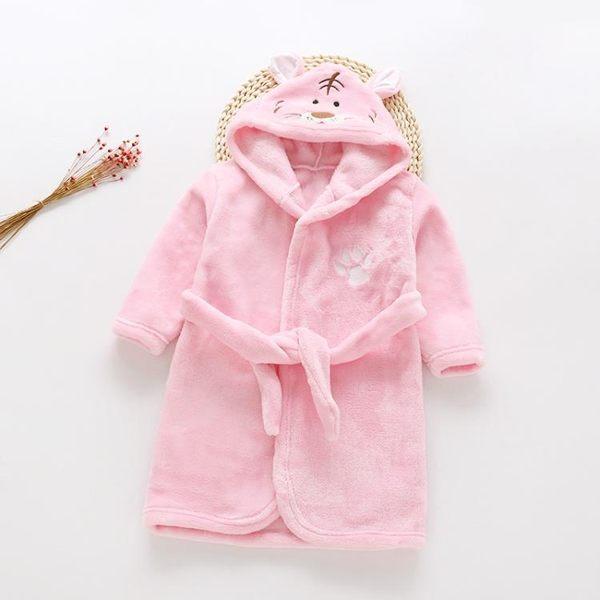 女童浴袍法蘭絨秋季兒童珊瑚絨睡袍女寶寶男童春秋冬女孩睡衣