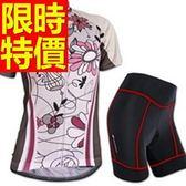 女單車服 短袖套裝-透氣排汗吸濕必備原創自行車衣車褲56y28【時尚巴黎】