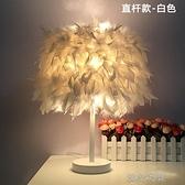 網紅燈飾羽毛台燈時尚北歐客廳裝飾燈ins少女臥室燈創意床頭台燈 【全館免運】 YJT