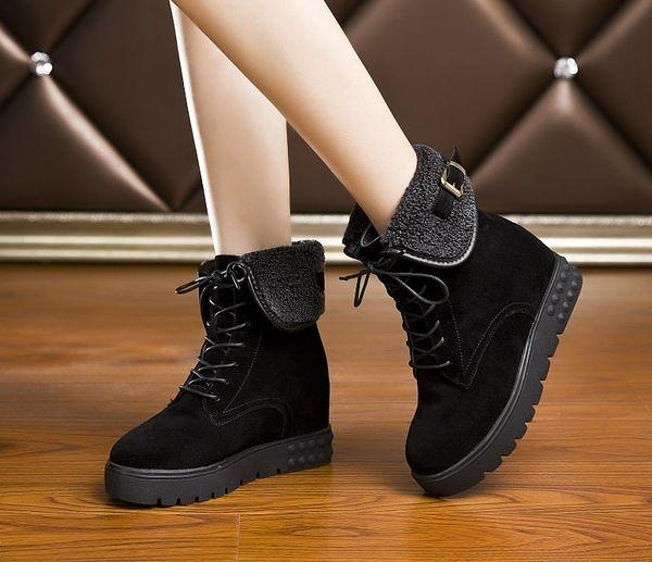 卡樂store…內增高真皮厚底女靴翻毛粗跟女靴馬丁靴 2色 黑色 35-39 #ym918