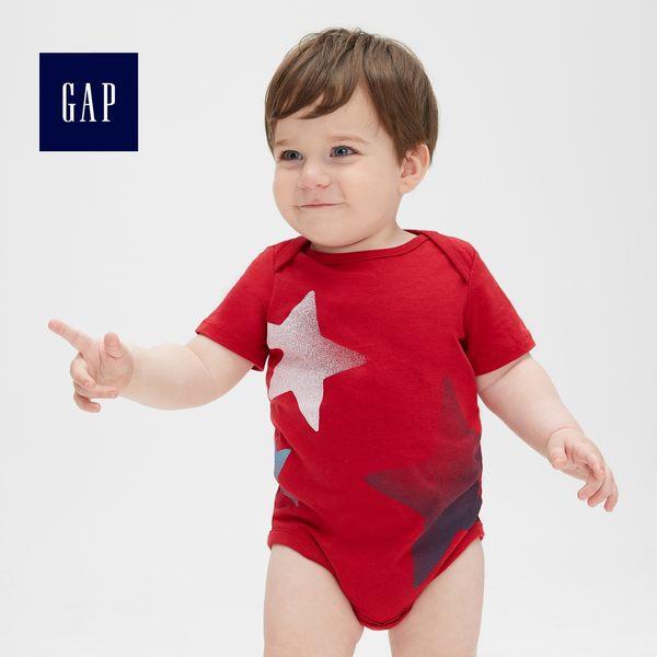 Gap男嬰兒 妙趣圖案短袖圓領包屁衣 464437-摩登紅色