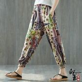 民族風燈籠褲高腰闊腿褲女顯瘦哈倫褲花長褲子女