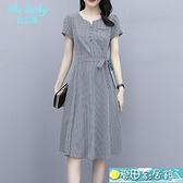 短袖洋裝 格子修身顯瘦短袖裙子貴夫人氣質夏天連身裙高端減齡女士方格裙女 快速出貨