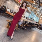 夏季洋裝女2018新款韓版時尚氣質單肩帶無袖修身顯瘦開叉裙長裙