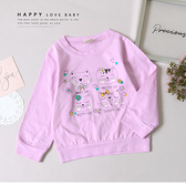 純棉 手繪微笑小貓嫩紫上衣 可愛 女童上衣 童裝 男童 女童 女大童 男大童 連帽 長袖 哎北比童裝