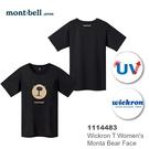 【速捷戶外】日本 mont-bell 1114483 WICKRON 女性短袖排汗T恤(熊臉黑),排汗衣,透氣,排汗,montbell