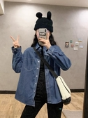 長袖襯衫 藍色牛仔襯衫女裝內搭長袖上衣秋冬2020新款疊穿港風百搭襯衣外套【快速出貨】