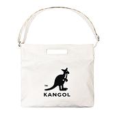 KANGOL 大LOGO白色手提側背兩用帆布包-NO.6025301001