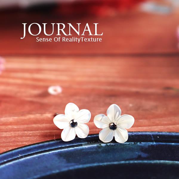 925純銀 清新自然 小白花針式耳環_質物日誌Journal