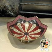 印度彩繪六瓣銅盤5吋 【 十方佛教文物】