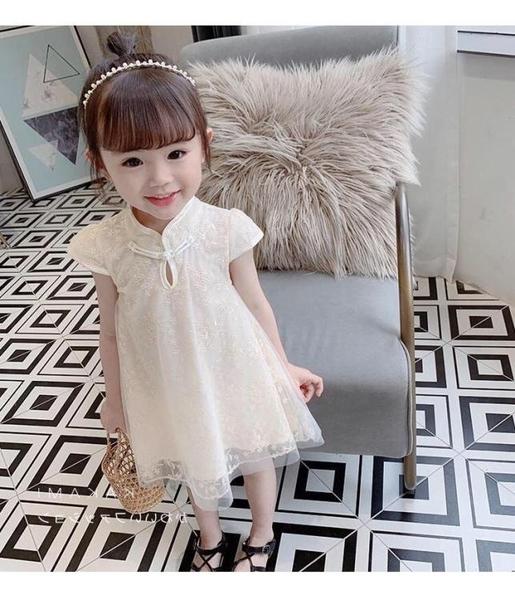 現貨-女童連身裙 童裝女童連身裙夏裝2020新款兒童旗袍裙公主裙洋氣夏季7-14