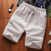 短裤男亚麻运动裤夏季韩版潮流宽鬆沙滩裤休闲男士中裤5五分裤子 茱莉亞