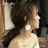 925銀針貝殼耳環女圓形長款耳墜誇張韓國氣質吊墜個性耳飾潮耳圈 千千女鞋