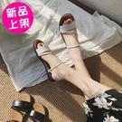 【F006】兩種穿法帶扣希臘風典雅羅馬涼鞋 拖鞋 (黑.白/36-40)