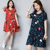 推薦短袖連衣裙女夏季新款民族風女裝文藝棉麻印花寬鬆中長款A型裙子(818來一發)