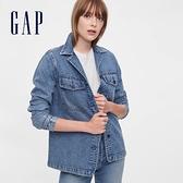 Gap女裝 時尚水洗寬鬆式牛仔外套 610493-靛藍色