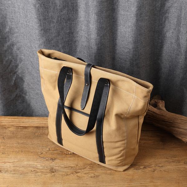 【Solomon 原創設計皮件】帆布購物袋  提把真皮 肩背包 手提袋