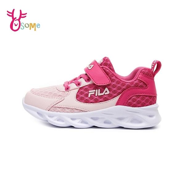 FILA童鞋 女童運動鞋 輕量慢跑鞋 跑步鞋 透氣 大童 魔鬼氈 Q7681#粉紅◆OSOME奧森鞋業