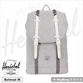 Herschel 後背包 淺灰色 / 白膠條 Retreat (小) 筆電後背包 Retreat M-1866 MyBag得意時袋