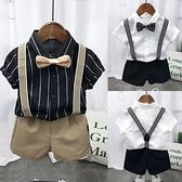 男童襯衫-兒童夏裝短袖襯衫套裝2021夏季男童小主持人走秀演出服氣背帶褲潮