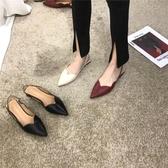 顯瘦推薦歐美V口包頭淺口尖頭后空涼鞋女黑色單鞋平跟平底女鞋新品上新
