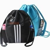 新西蘭全黑防水籃球包足球訓練球袋抽繩後背背包戶外運動束口網袋  魔法鞋櫃