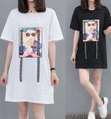 中大尺碼XL-5XL中長款T裙25138大碼女裝中長款短袖T恤裙潮夏裝胖mm加肥連衣裙愛尚布衣