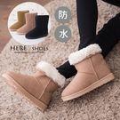 [Here Shoes]3色 嚴選厚毛料冬季美鞋 防水經典基本款素面18CM中筒可反摺防滑膠底雪地靴雪靴─AA3588