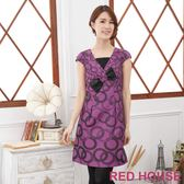 【RED HOUSE-蕾赫斯】蕾絲幾何蝴蝶結洋裝(共二色)