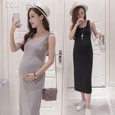 孕婦裝 洋裝薄款背心裙長裙中長款吊帶裙春裝打底裙裙子「Chic七色堇」
