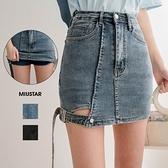 現貨-MIUSTAR 日常加辣!大腿造型釦帶彈力牛仔褲裙(共2色,S-XL)【NJ1314】