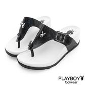 PLAYBOY 涼夏美學 簡約線條夾腳楔型拖鞋-黑
