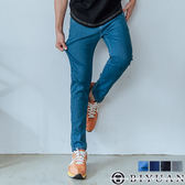 【OBIYUAN】彈性素面牛仔褲 反摺造型  單寧長褲 共4色【Y0712】