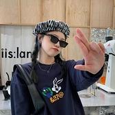 貝雷帽丁走走時髦街拍毛呢斑馬紋貝雷帽女凹造型日系個性復古畫家帽【全館免運】