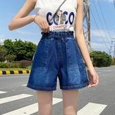 牛仔短褲熱帶褲中大尺碼S-5XL新款彈力仔短褲闊腿休閒寬鬆胖MM簡約熱褲加肥加大女褲4F054-5852.胖