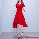 雪紡洋裝 純色洋裝夏新款女正韓中長款不規則氣質雪紡有女人味的裙子-Ballet朵朵
