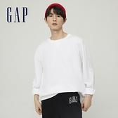 Gap男裝 純棉寬鬆圓領長袖T恤 842332-白色