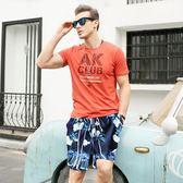 沙灘褲男速干海邊度假寬鬆情侶裝溫泉短褲女五分大碼泳褲夏潮【販衣小築】