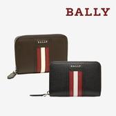 【台中米蘭站】全新品 BALLY TIVY 荔枝牛皮條紋零錢包 (咖/黑)