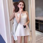 吊帶小禮服 夏裝2019新款裙子小個子一字肩很仙的法國小眾連身裙性感短裙TA3953【雅居屋】