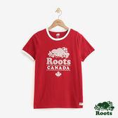 女裝ROOTS - 溫馨佳節飾邊短袖T恤-紅色