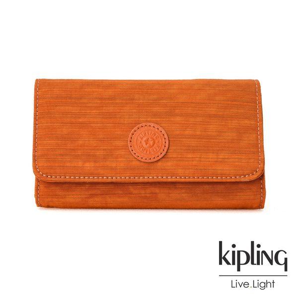 Kipling 焦糖拿鐵色素面翻蓋長夾-YELINA