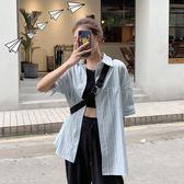 休閒中長款條紋短袖襯衫女2019韓版 全館免運