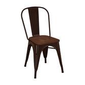 【森可家居】強尼咖啡色木面餐椅 7JF487-8 美式工業風 LOFT 復古 鐵椅