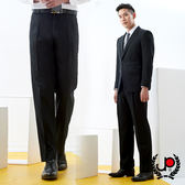 極品西服 層次品味仿毛條紋雙摺西褲_黑條(BS732-2)