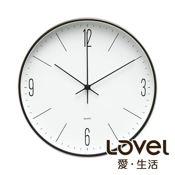 Lovel 30cm英倫風金屬框靜音時鐘-紳士步伐(T721-BK413)
