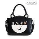 手提包 貓咪樂園刺繡貓耳朵小托特包 3色-La Poupee樂芙比質感包飾 (現貨+預購)