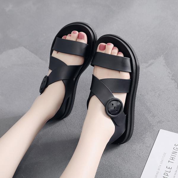 平底涼鞋女塑料厚底防滑防水雨鞋塑膠鞋軟底果凍鞋韓版學生沙灘鞋