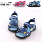 [Here Shoes](童鞋18-22)2CM涼鞋 百搭皮質網格舒適透氣平底涼拖鞋 魔鬼氈 MIT台灣製─KBBOB-2999